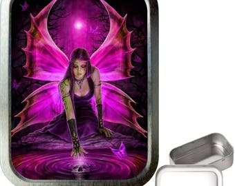 Pink fairy pool 2oz silver tobacco tin,pill box,storage tin,keepsake