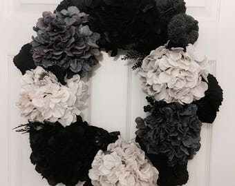 Halloween Wreath, Hydrangea Wreath, Flower Wreath, Door Wreath, Holiday Wreaths