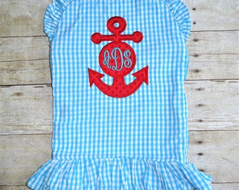 Personalized Girls Swimsuit - Girls Monogrammed Swimsuit - Ruffled Swimsuit - Girls Monogram Swimsuit - Girls Bathing Suit - Anchor Applique