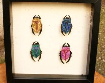 cadre pop art insectes type cétoines en recyclage mosaïque de perles, tableau Gwenda'ailes