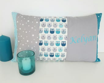 name or pillow case Cushion cover 30 x 50 cm customizable name patterns owls owls with blue and gray