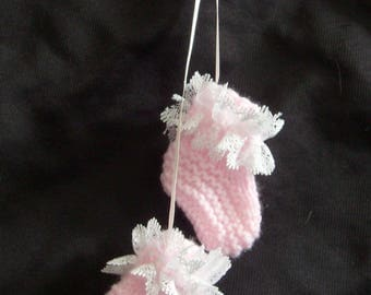 Baby pram charm - hand knitted pink shoes/booties/bootees with white lace - baby gift, baby shower