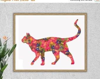 ON SALE Cat Print, Cat Art, Cat Art Print, Pink, Blue, Cat Lover Gift, Floral Print, Floral, Home Decor, Cats, Cat, Cat Decor, Illustration