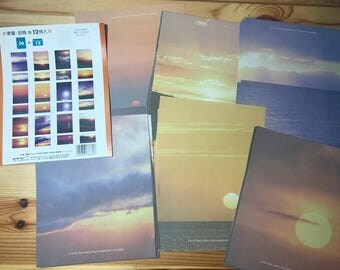 Vintage 1988 Midori Letter Set Writing Paper and Envelopes 12 pictures of Sun and Sky Made in Japan