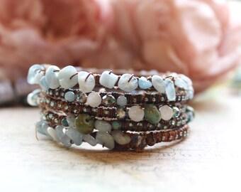 Stacking Bangles, Bangle Stack, Boho Bracelet Set, Boho Bangles, Aquamarine Bracelets, Boho Bangle Stack, Crystal Bracelet Set, Vegan