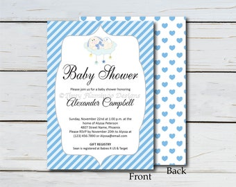 Baby Shower Invitation, Shower Invitation, Party Invite, Blue Stripes, Baby Bunny, Party, Editable PDF, Printable, Instant Download T547E