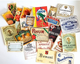 SALE Set of 22 vintage French labels on paper Never used No reprint Not digital downupload !