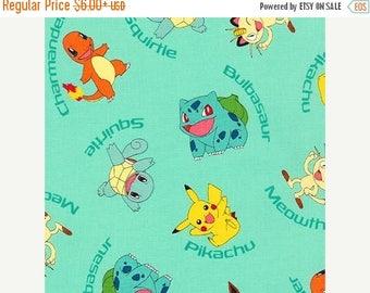 ON SALE Pokemon Character on Aqua Fabric, Pokemon Fabric, Pikachu, Kaufman 72015-70 AQUA  / Yardage. Pokemon by the Yard / Pokemon Go Quilt