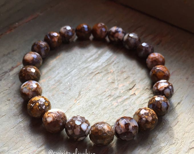 Stackable Mala Inspired Spiritual Junkies Funky Chunky Faceted Brown Peruvian Opal Yoga and Meditation Bracelet (single bracelet)