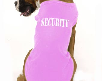SECURITY Dog T-Shirt | Pink | Range of sizes for large breed dogs