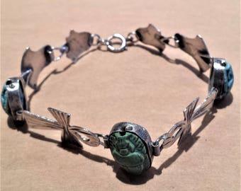 Silver Ankh and Glass Scarub Bracelet