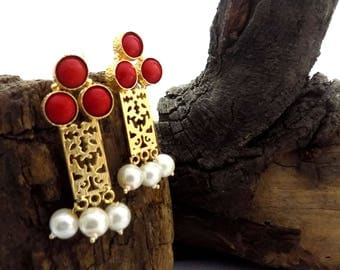 Filigree earring,red coral earring,geometric earring,designer earring,gold plated earring,long earring