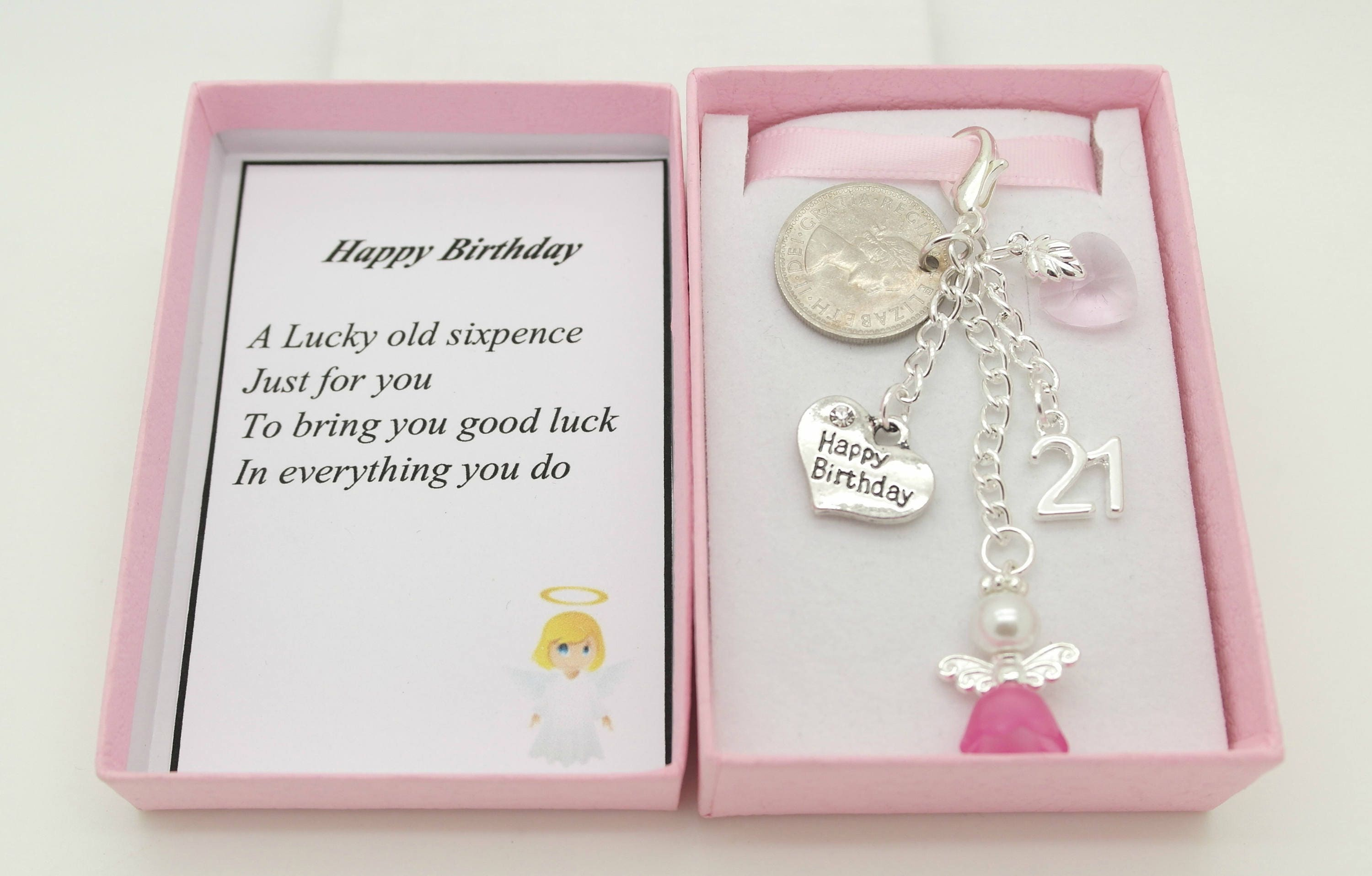 Personalised Happy 21st Birthday Gift Pink Guardian Angel Lucky Sixpence Charm