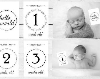 Black and White Baby Milestone Cards - 16 cards - Baby's first year