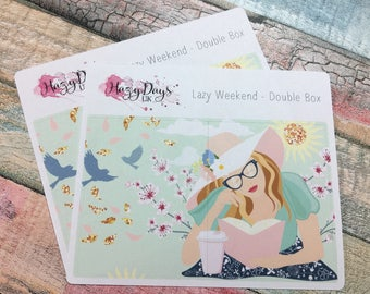 Double Box Add On - Lazy Weekend Weekly Planner Stickers Kit, Double and Quadruple Boxes Add On