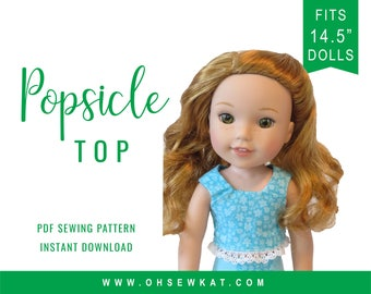 Wellie Wishers Doll Clothes Sewing pattern fits dolls such as WellieWishers - Doll Clothes - Popsicle Crop Top - doll shirt easy to sew