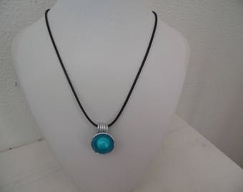 Black waxed cotton with magical turquoise Bead Necklace