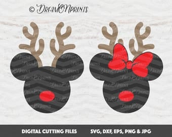 Mickey Deer SVG, Minnie Mouse Svg, Minnie Deer Svg, Christmas Disney Svg, Minnie Head, Silhouette files, Monogram Mickey Mouse SVDP278