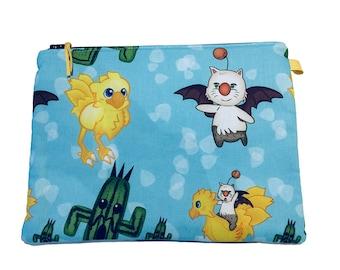 Final Fantasy XV Multi Purpose Zipper Pouch, Makeup Bag, Small Craft Bag, Gadget Bag, Pencil Case, Chocobo Moogle Cactuar, Handmade