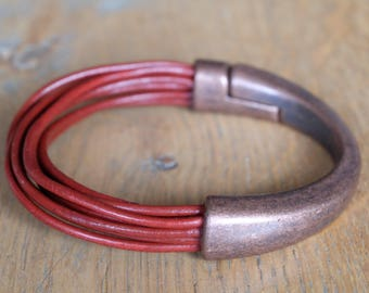 Genuine leather antique copper half cuff bracelet with magnetic clasp / red leather multiple strands bracelet / gift for her