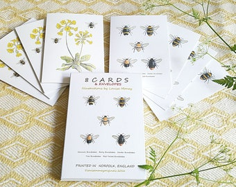 Bee card pack. Multi pack of eight cards, four bee and four cowslip and bees. bumble bee cards. cowlsip cards. gift pack of cards.britishbee
