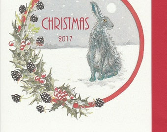 Hare christmas cards. Norfolk hare. Hare Christmas card multi pack. Hand made christmas card. hare painting. Christmas card with a hare