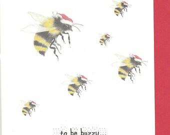 Bee Christmas card. Funny bee christmas card. Bumble bee. christmas card with a bee. bee card. card with a bee. bee lover gift