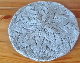 Light gray laced knitted hat - Handmade Lace Cap - Summer beret - Cotton beret - French beret - Summer accessories - Boho