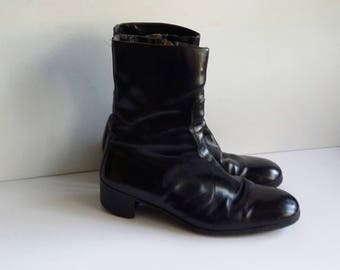 60's boots, 8, 9, 10, black boots, mod boots, beatnik boots, leather boots, womens boots, mens boots, vintage boots