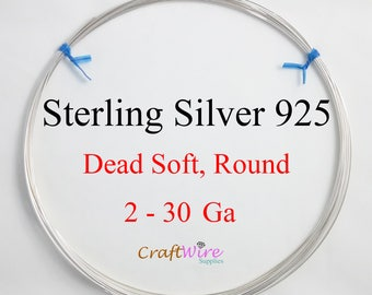 925 Sterling Silver Wire, Round, Dead Soft, 2 4 6 8 10 11 12 13 14 16 17 18 19 20 21 22 24 26 28 30 Gauge, Jewelry Making, Craft Wrapping