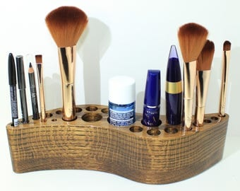 Makeup Brush Holder - Oak Wood - Makeup Organizer - Counter Clockwise Curved Shape - Makeup Display