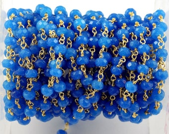 3 Feet Blue Chalcedony Gemstone Faceted Size 4mm 24k Gold Plated Rosary Chain