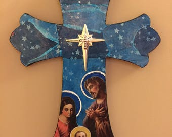 Holy Family Decor Cross, Christmas Decor Cross, Decorative Hanging Cross, Collage Wall Cross, Unique Wall Cross, Wooden Decor Cross