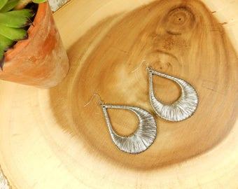 Silver Wire Wrap Earrings, Silver Dangle Earrings, Statement Jewellery, Tear Drop Earrings