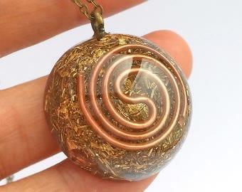 Orgonite® pendant - 1.1'' gentle, copper, coil, unique, style, pendant, necklace, quartz, orgone, healing, crystals, round,  boho, gift