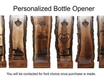 Beer Bottle Opener, Cap Catcher, Rustic Cap Catcher, Personalized Cap Catcher, Rustic Decor, Live Edge Cap Catcher, Rustic Bottle Opener