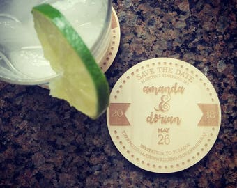 Rustic Wood Save The Date Coaster
