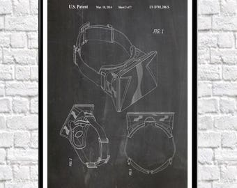 Oculus Rift Poster Oculus Rift Patent Wall Art Oculus Virtual Reality Art Gamer Poster for Gamer Gaming Room Decor VR Poster (WB145)