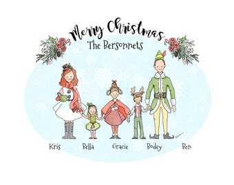 Custom Christmas Family Portraits / Illustration