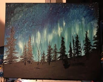 Northern sky painting class, coffee and canvas, painting at peace