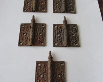 5 Cast Steeple Hinges Vintage Ornate Hardware Antique Shabby