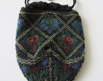 Vintage Beaded Evening Bag Purse Beading Drawstring Lined  Nice!!