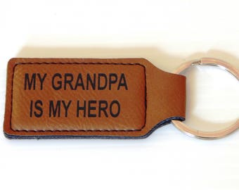 Christmas Gift for Grandpa, Grandpa Key chain, Valentines Day Gift, My Grandpa my Hero, Fathers day Key chain, Names Key fobs,KLM011