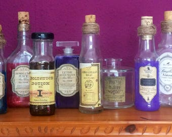 Snape's Store Cupboard Potion Bottle Trio ~ Acromantula Venom ~ Mandrake Draught ~ Gillyweed ~ Harry Potter ~ Vintage ~ Props