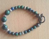Chrysocolla gemstone chakra bracelet, Reiki charged, positive intent bracelet, spiritual bracelet, semi-precious gemstone bracelet