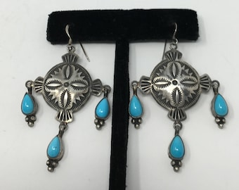 Native American Sterling Silver Handmade Navajo Natural Turquoise Dangle Earring By M and R Calladitto