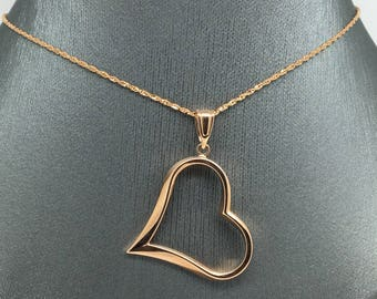 14K Rose Gold Open Heart Pendant and Chain
