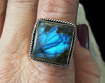 RESERVED FOR SHEILA - Blue Labradorite Statement Ring - Size 7.25