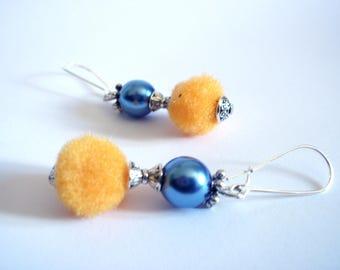 Summer earrings, tassel Orange beads