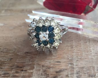 Vintage 18KT White Gold HGE Blue & Clear Rhinestone or CZ Ring. #flashsale